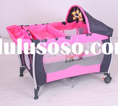 Simple Canopy Pink Play Yard With Toys