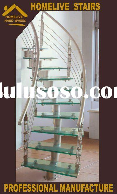 Stainless Steel glass Staircase (arc stair)