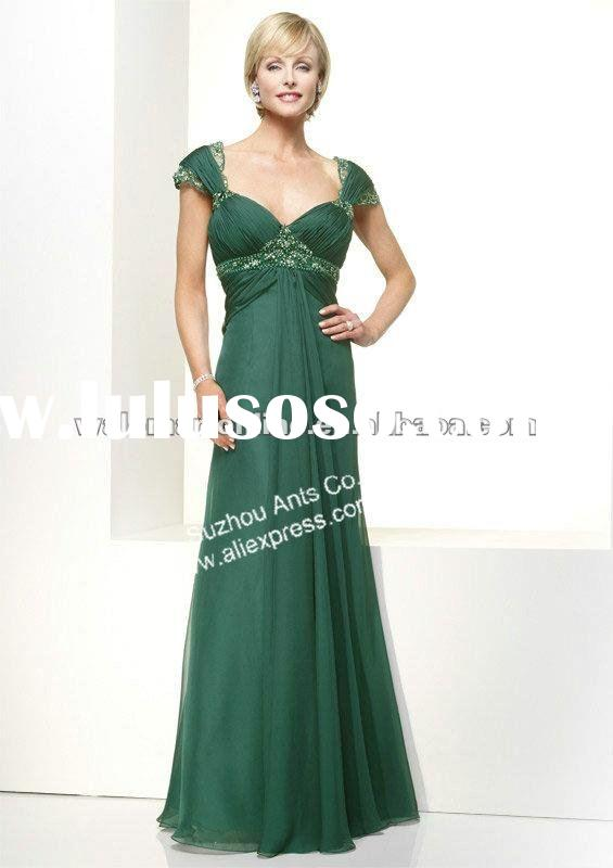 Straight Cap Sleeve Lace Chiffon Long Green Mother Of The Groom Dresses FB132