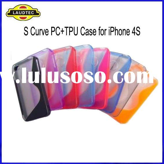 TPU+PC S Curve Case for iPhone 4S & 4, Wave TPU Case, New Arrival, High Quality, 7 Colors Availa