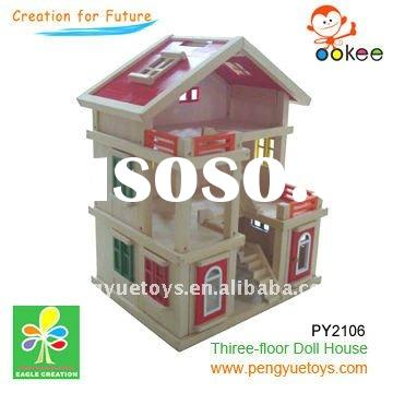 Three-floor wooden Doll House toys