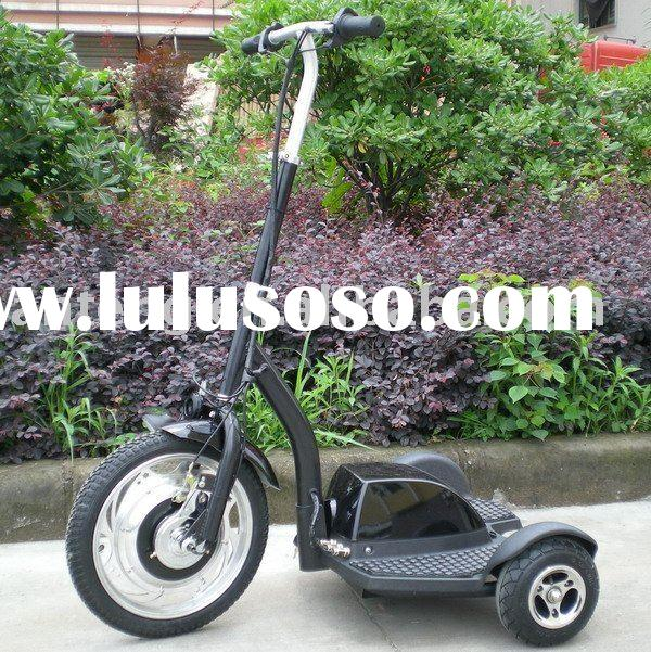 Three wheel electric stand up scooter