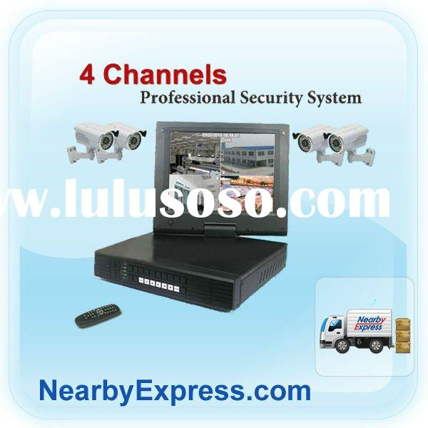 USB and network 4 Channel DVR & 4 Color Wired Cameras Security System