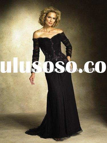 Vintage ED046 column long sleeve floor-length black chiffon mother of the bride dresses
