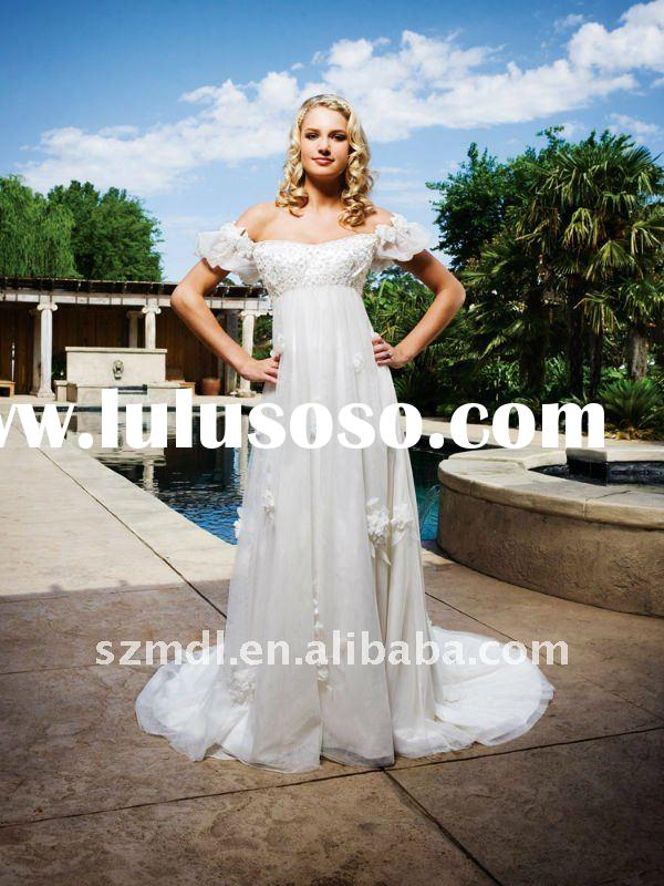 White Floral Maternity Wedding Dress