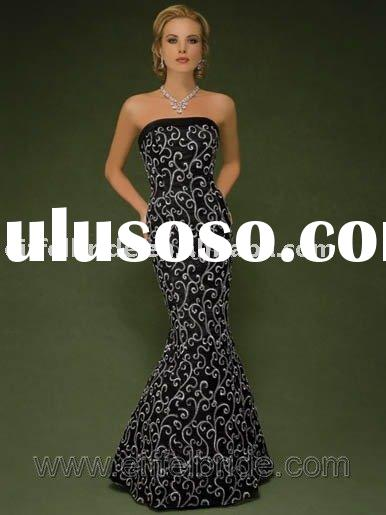 XL-09244 black lace evening gown Strapless and lace of evening dress formal evening gown ladies&
