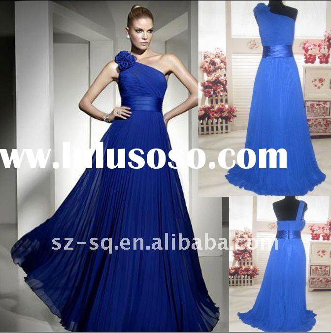 Y0765 Hot Sell Blue Chiffon One-shoulder Ruffle Formal Evening Dress