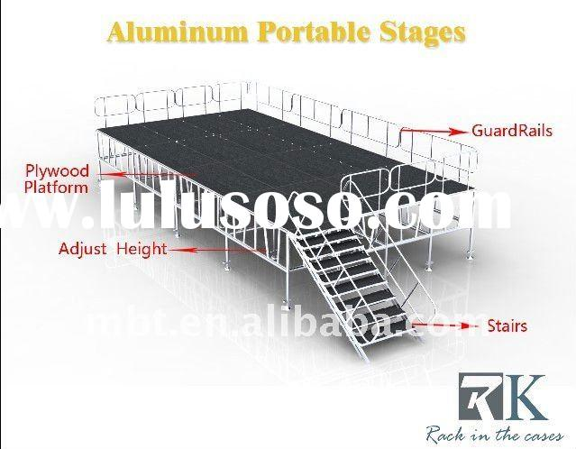aluminum portable stage with guardrails and stairs