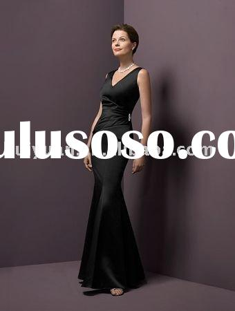black strip formal evening dress