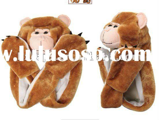 cool monkey furry animal hats for winter with long arms