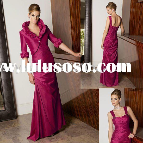 custom made elegant match a jacket taffeta full length sheath evening gowns 70314