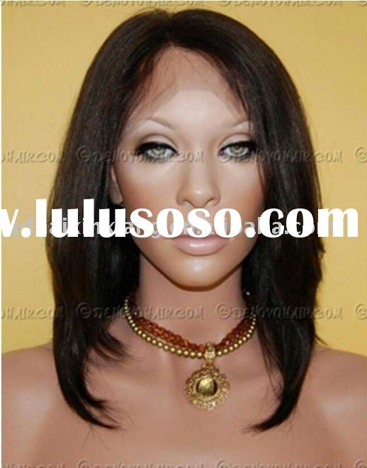 discount of women`s 14 inch Yaki human hair front lace wigs with top quality in stock