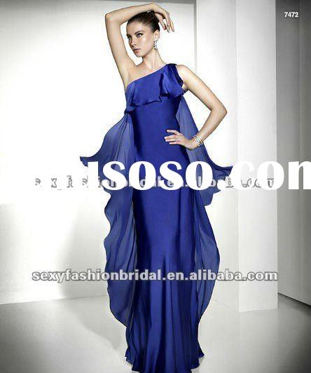 elegant asymmetric one shoulder ruffle accented columm evening dress fashion 2012