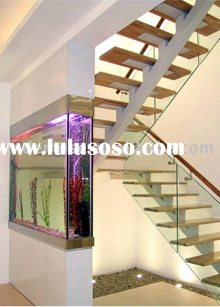 elegant design wood glass staircase DMS-6882