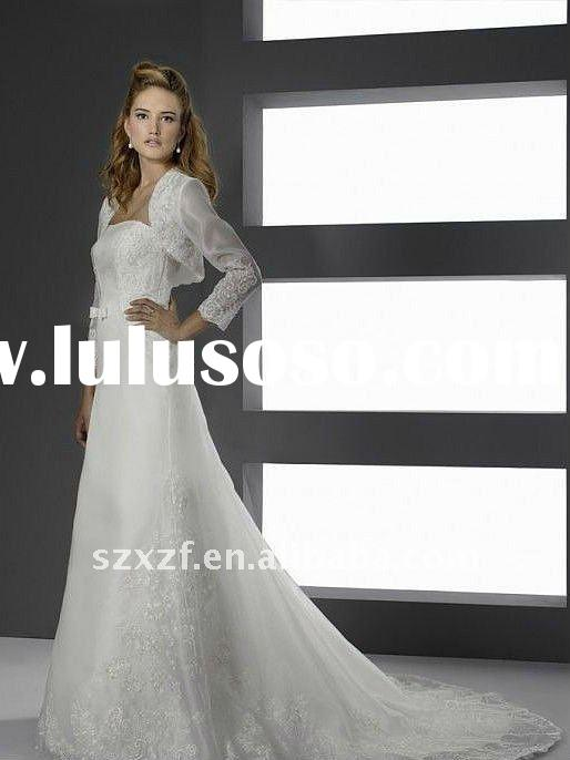 elegant with long sleeves jacket formal wedding gown dress
