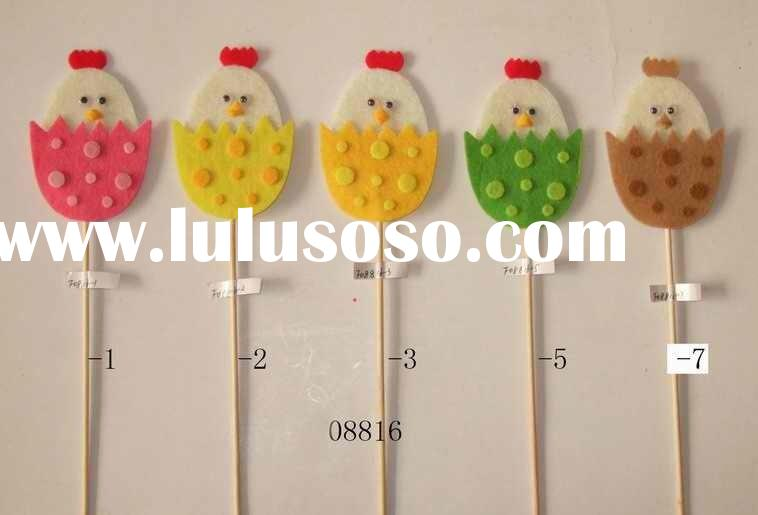 felt chicken on stick/hand-made/easter decoration/holiday gift