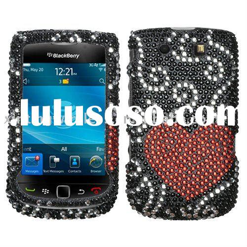 for Blackberry Torch 9800 Case Cover Black Heart Glitter
