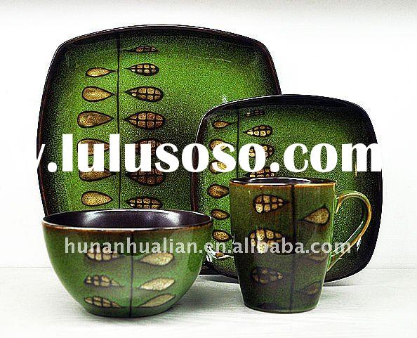promotional eco-friendly ceramic stoneware dinnerware with handpaint