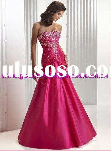 wholesale New style strapless satin appliqued&beaded lace up peach colour prom dresses