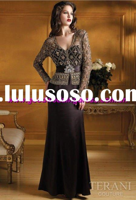 wholesale hot sale long sleeve appliqued elegant hand made prom dress/evening gown/arabic evening dr