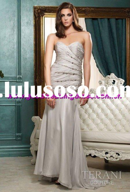 wholesale hot sale strapless beaded elegant hand made prom dress/evening gown/evening dresses 2011