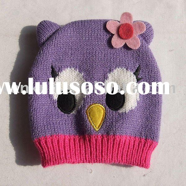 winter owl animal acrylic knitted hat for kids