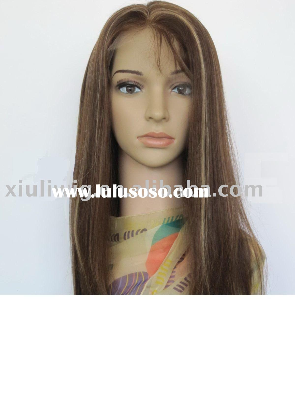 100% Human Hair 18 inch 4# highlights 27# straight Full Lace Wigs