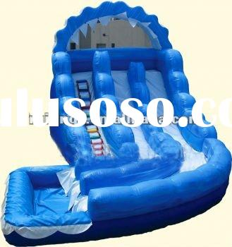 Double Lane Curly Giant Inflatable Water Slide