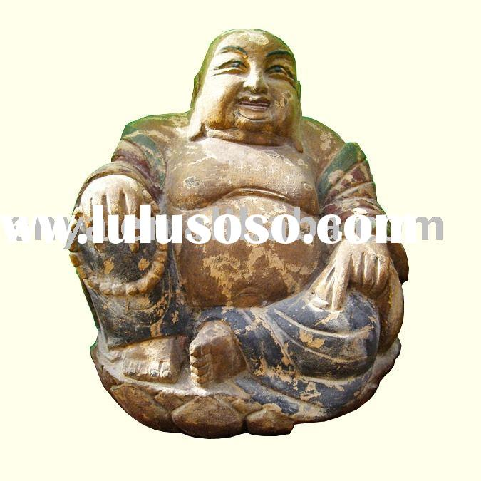 Laughing/Happy Buddha Statue, Antique Wood Carving, religious crafts