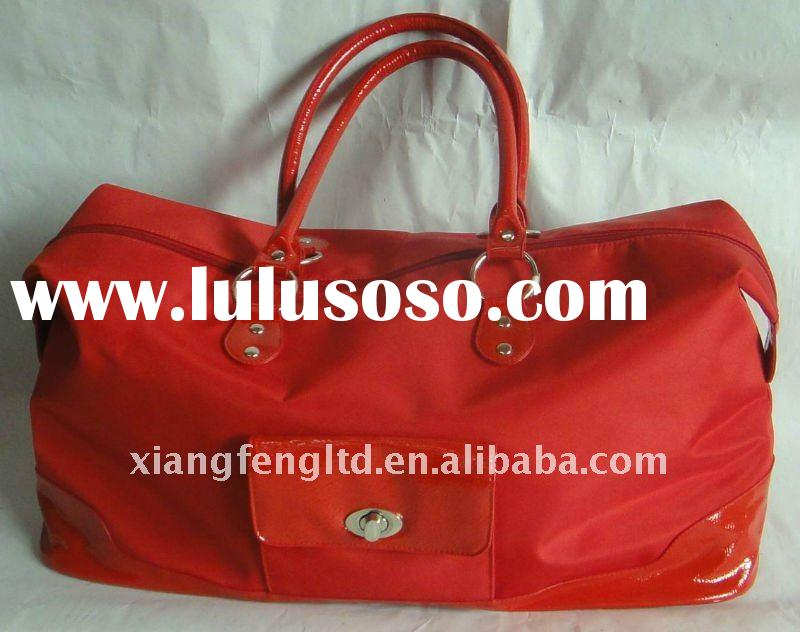 Red leather travel bag
