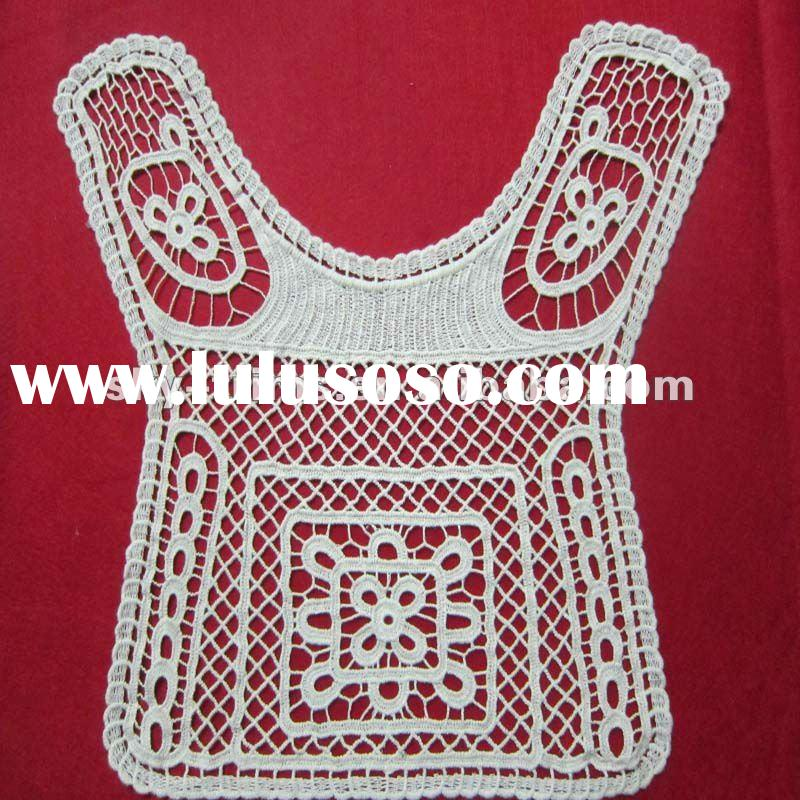 Swiss cotton crochet lace fabric on the back of garment