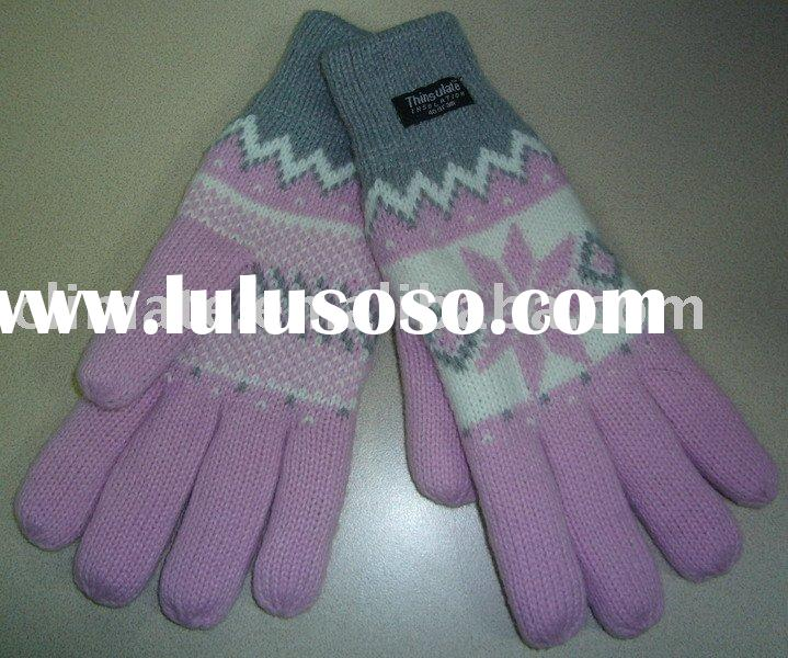 100% Acrylic Knitted Gloves jacquard pattern