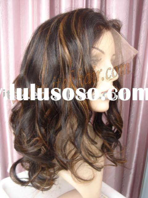 16inch loose curl with highlight. 100% Indian remy hair full lace wigs, accept paypal!