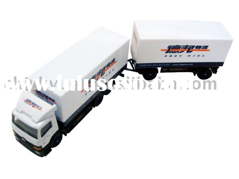 1:87 die cast double-trailer truck model