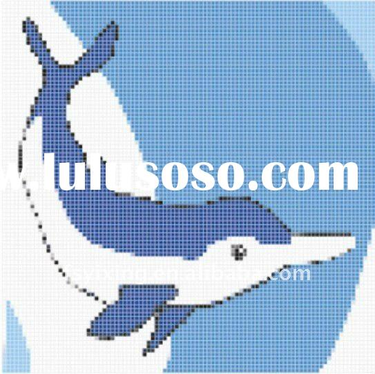 "1""x1"" Blue iridescent tile iridium effect glass mosaic mural for Dolphin Glass Mosaic Swim"