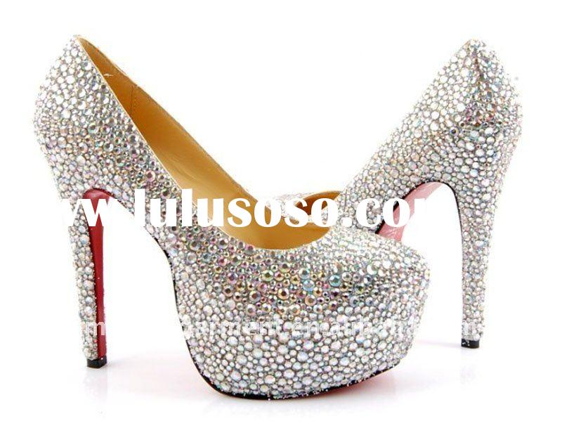 2011 Fashion women high heels crystal colorful new shoes