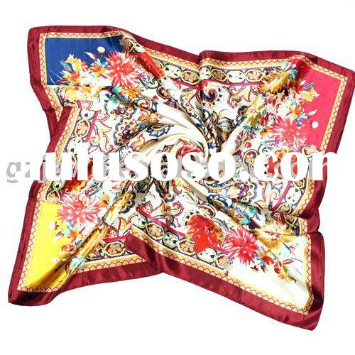 2011 Newest Style Fashionable M.O.S.I Fashinable Flower Pattern Viscose Square Scarf