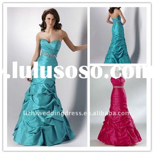 2011 beautiful sweetheart neckline ruffled prom dresses with beading PF023