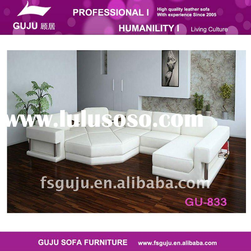 2011 elegant modern furniture leather sofa GU833 U sharp deisgn