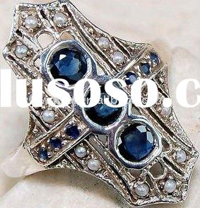 2011 high fashion jewelry sapphire filigree pearl ring factory direct