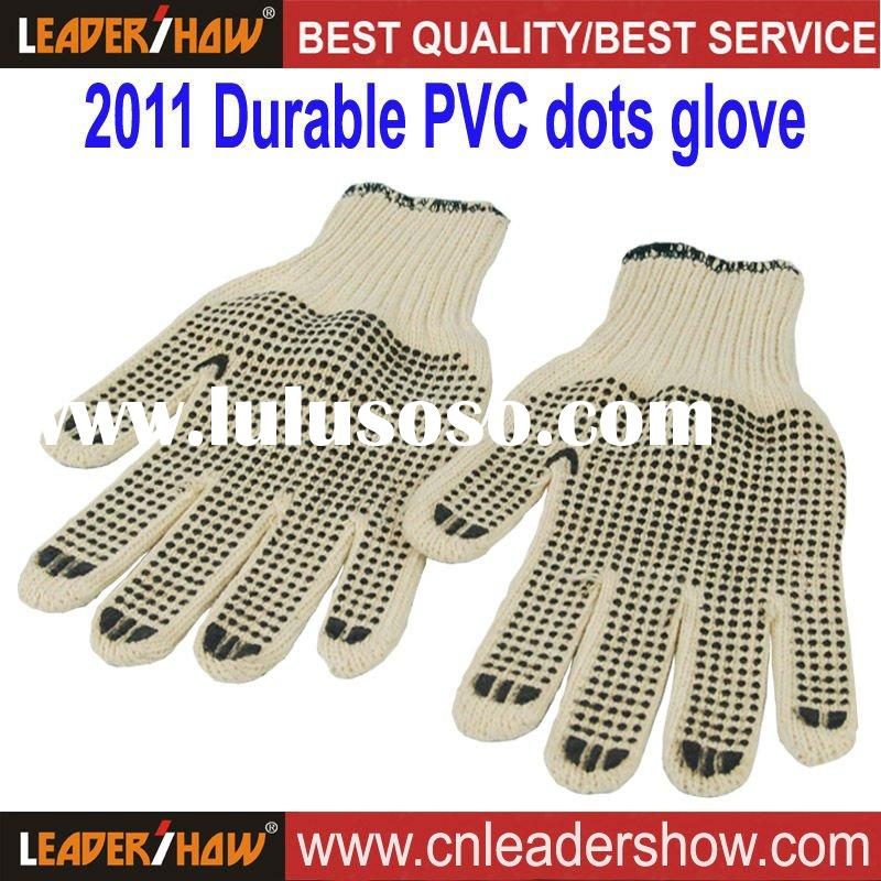 2012 PVC dotted cotton safety gloves