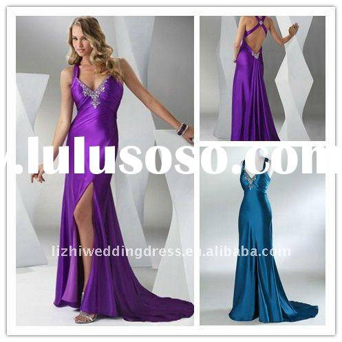 2012 beautiful v-neck front slit prom dresses with detachable train PF024