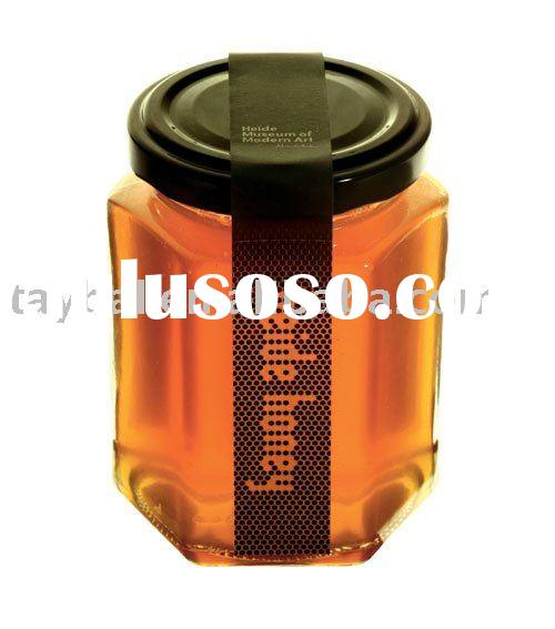 350ml hexagon glass honey jar with screw cap