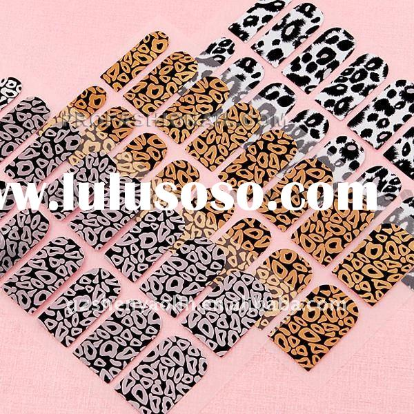 50sheets/Set Black gold and silver leopard series Nail Stickers Full cover Tips Nail Art NA609