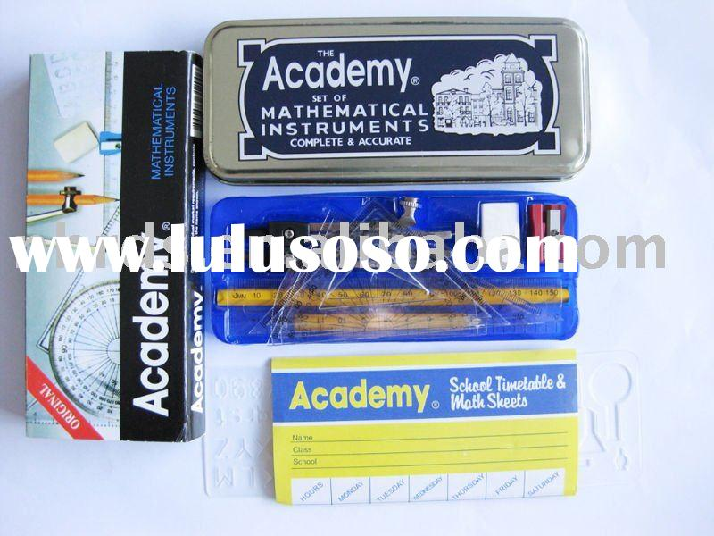 Academy geometry sets with metal compass