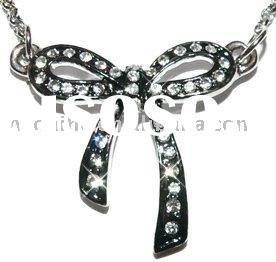 Alloy Ribbon bow Tie Necklace(ALNB-6462)