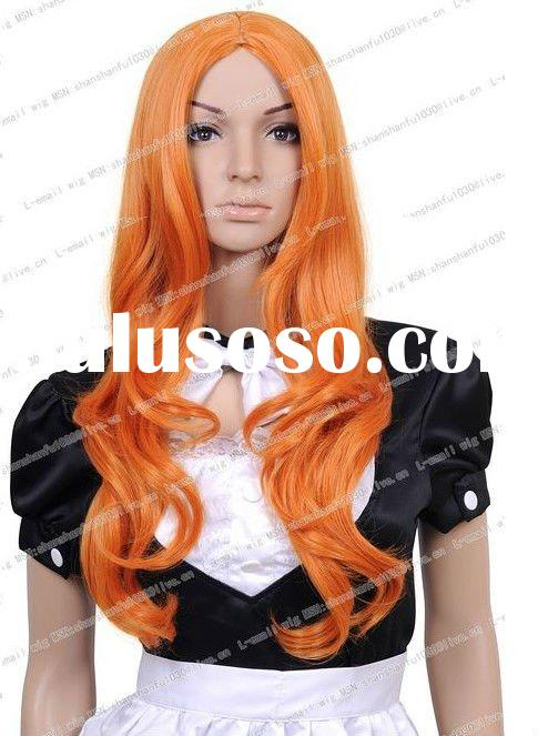 Anime Long Wave Orange Cosplay Girl Hair Full synthetic Wig CW197