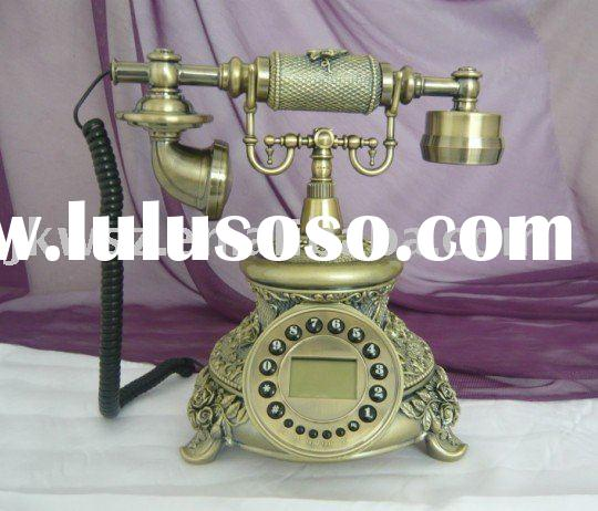 Antique Telephone set with Rotary dial Key figures Clock display