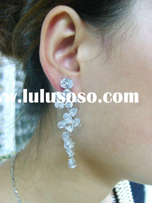 Arabic bridal earring/wedding earring/cubic zirconia jewelry/brass Alloy