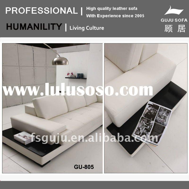 Beige / cream Full Italian Leather Modern Sectional Sofa with Side Tables(GU805)